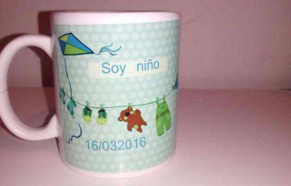 """Taza Sublimada de  cerámica """"SOY NIÑO"""" para Baby Shower"""