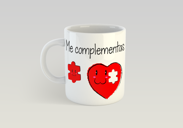 """Taza sublimada corazón """"Me complementas"""""""