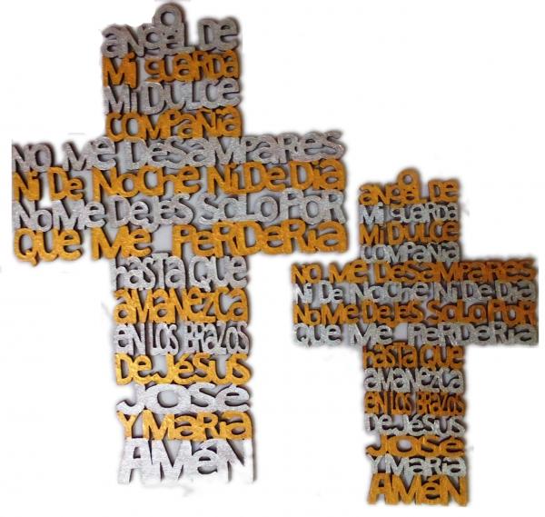Cruz MDF con oración
